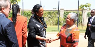 Education Cabinet Secretary, Dr Amina Mohammed; left, welcomes the first Lady, Margret Kenyatta, at BrookHouse School, Runda Campus on Thursday last week for the Margaret Kenyatta Scholarship Award and the opening of the BrookHouse School Runda Campus Library. The Education Ministry has stepped up efforts to ensure all learners go to school