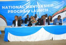 Education Cabinet Secretary, Dr Amina Mohammed; centre, at the launch of the National Mentorship program for all the young ones across the country. The launch occurred at Upper Hill School in Nairobi, today