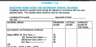 The new TSC marking for recruitment of teachers in 2019