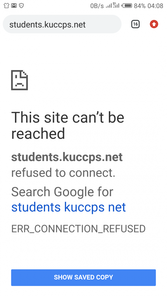 The KUCCPS online portal. The portal has been experiencing a downtime since it is under maintenance.