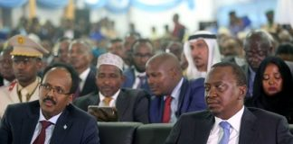 Somalia Head of State, Mohamed Abdullahi Mohamed, and his Kenyan Counterpart, Uhuru Kenyatta, at a past international event. Kenya has declared her northern neighbour, Somalia, an enemy state for allegedly auctioning oil and gas blocks falling within the Kenyan maritime territory near its border early this month.