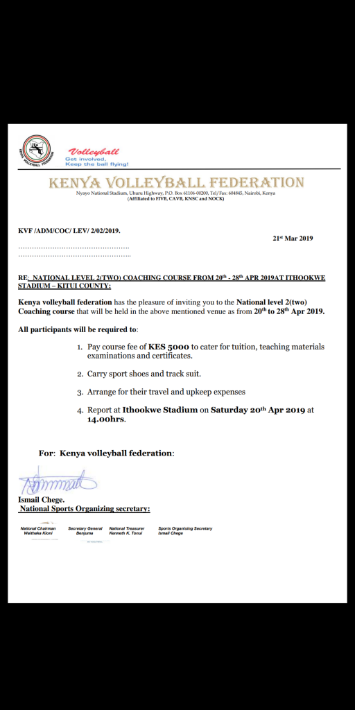 The Kenya Volleyball Federation to hold a training course