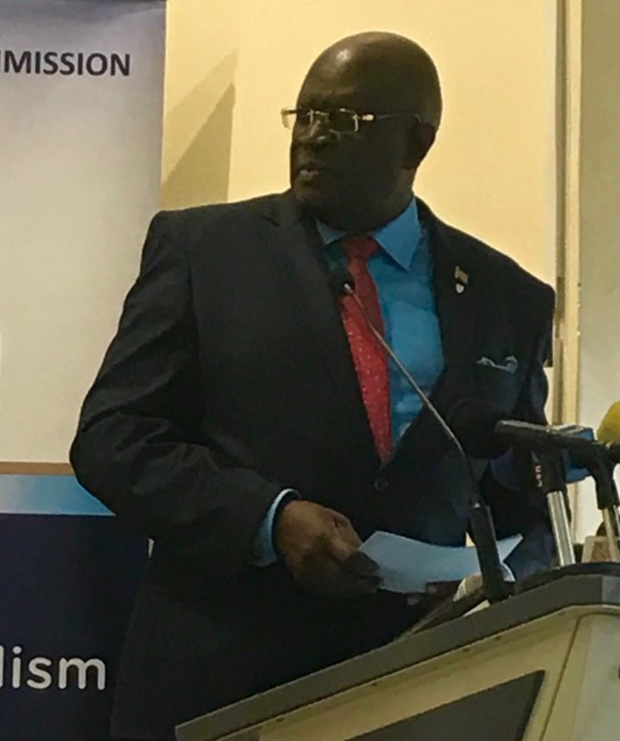 Education Cabinet Secretary Prof George Magoha during the launch of the New Competency Based Curriculum training exercise at Uhuru Gardens Primary School, Nairobi, on Tuesday 23rd April, 2019