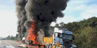 Image of the Fuel tanker that exploded killing about 60 people. Most of the victims were motorcyclists and food vendors who thronged the accident scene to collect leaking fuel from the truck that overturned on the Morogoro Dar es Salaam Highway.