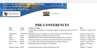 Schedule for Curriculum reforms conferences in Kenya, 2019