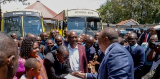 President Kenyatta handing over 52-seater buses to Mary Immaculate Academy and Nyachogochogo High School at State House, Nakuru, on Wednesday August 14, 2019. The President also donated indigenous tree seedlings to the schools and challenged them to be mindful and look after the environment.