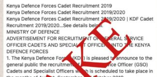 Fake advert for the 2019 KDF recruitment