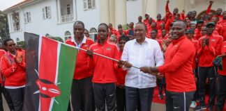 President Uhuru Kenyatta at State House, Nairobi when he flagged off Tong-il Moo-Do; the Kenya national team that will be representing the country at the 2019 World Martial Arts Mastership in South Korea. The President also received the national flag and trophies from the Morans and Malkia Strikers.