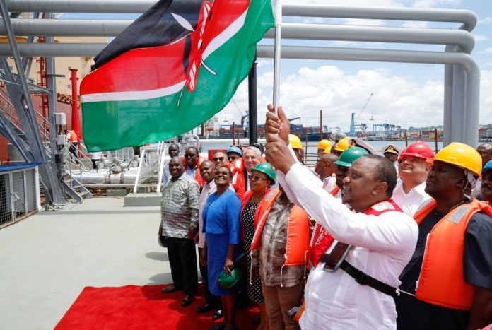 President Uhuru Kenyatta during the flagging off for the first consignment of over 200,000 barrels of low sulphur petroleum from Kenya's oil fields in Turkana County on Monday August 26, 2019. He termed it a milestone moment for Kenya as it becomes the first country in the region to export oil.