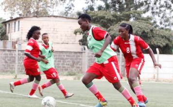 Image- Kenya's Harambee Starlets players at a training session.