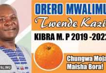 Campaign Poster showing Mr Peter Orero. He is the current Principal Dagoretti high school and Kenya Secondary Schools Sports Association, KSSSA, Chairman.