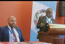 FEASSSSA president, Mr Justus Mugisha, makes his presentation at the body's Symposium held in Arusha, Tanzania, on 19th August, 2019. The president has announced the change of the body's name to Federation of East Africa School Sports Associations (FEASSA).
