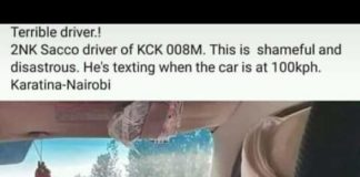 Driver of 2NK Sacco who was caught on camera texting while driving. Image/ Courtesy