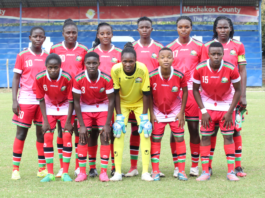 Harambee Starlets starting lineup in their Olympics Qualifier return match against Malawi at the Machakos Stadium. Photo/ File