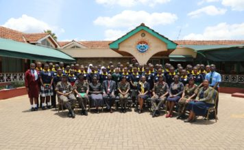 The Best preforming students from 13 counties and beneficiaries of Pupils Reward Scheme (PURES) programme when they visited the Defence Headquarters and the Moi Air Base for mentorship on the roles, functions and opportunities within the Kenya Defence Forces.