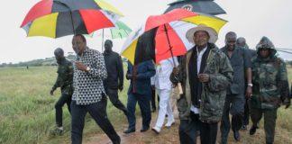 President Uhuru Kenyatta, left, with his Ugandan counterpart; President Yoweri Museveni