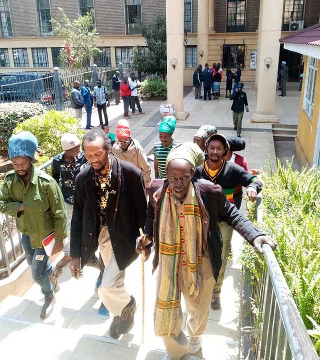 The Rastafarians. Makeda Ndida, family and members of the Rastafarian Religion make their way to Court on Friday September 13, 2019. The High Court ruled that Rastafarian is a Religion and its members should not be compelled to shave their long hairs.