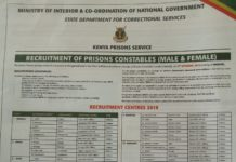 2019 Kenya Prisons Constables jobs advert.