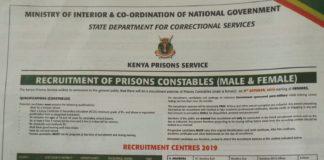 2019 Kenya Prisons Constables jobs advert.