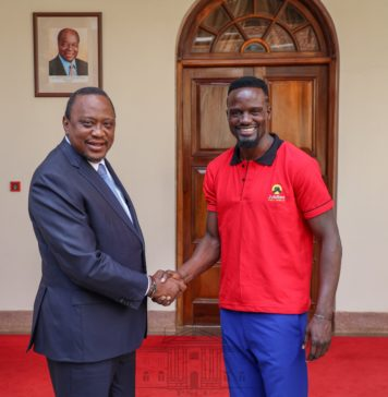 President Uhuru Kenyatta, Left, at State House, Nairobi on Wednesday 18th September, 2019 met Jubilee Party candidate for the forthcoming Kibra Constituency by-election Macdonald Mariga