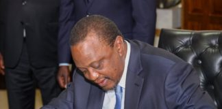 President Uhuru Kenyatta has signed into law two Bills among them the County Allocation of Revenue Bill, 2019. At the brief signing ceremony witnessed by Deputy President William Ruto, the President also appended his signature on the Copyright (Amendment) Bill, 2019.
