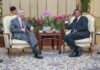 President Uhuru Kenyatta, Right, when he held bilateral talks with Singapore Prime Minister Lee Hsien Loong. The two leaders agreed to boost trade and cooperation between Kenya and the Asian nation.