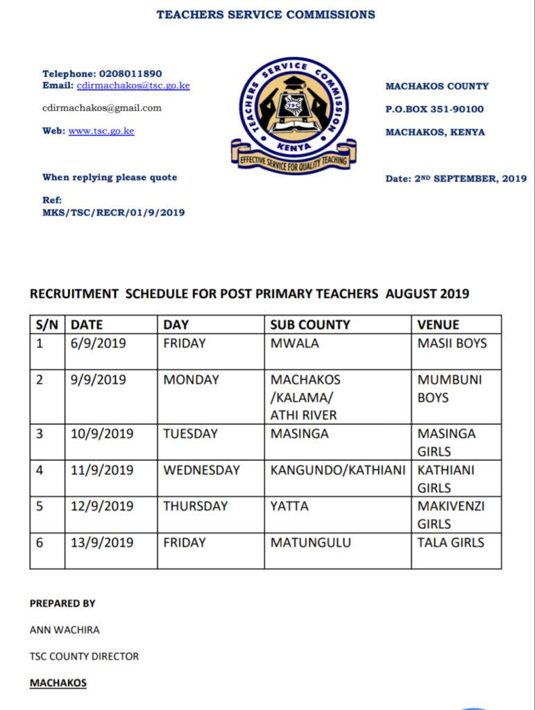 Machakos County TSC recruitment schedule