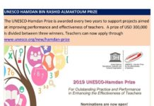 The 2019 UNESCO- Hamdan Prize for teachers. Apply today.