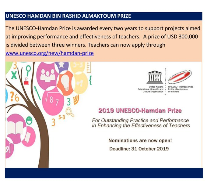 The 2019 UNESCO- Hamdan Prize for teachers. Apply today.