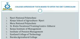 These are the TVET colleges that have been approved by the TVETA board to offer CBET programmes.
