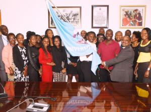 UoN VC, Prof. Isaac Mbeche flags off 22 UoN students going to France for an Exchange program on Wednesday September 18, 2019