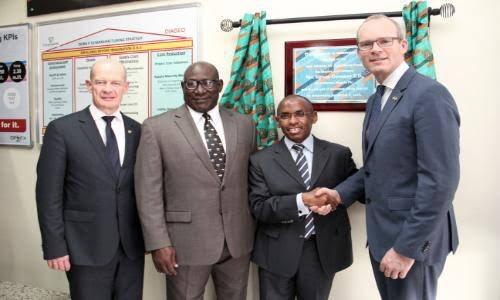 New Safaricom CEO Mr Peter Ndegwa ; Second from right.
