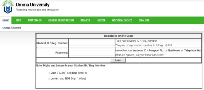 How to Log in to Umma University Students Portal, https://students.umma.ac.ke, for Registration, E-Learning, Hostel Booking, Fees, Courses and Exam Results