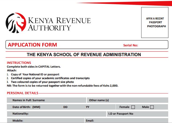 KESRA Courses application form.