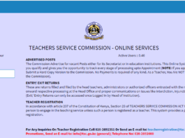 TSC Portal for filing 2019 assets, liabilities and income returns; https://tsconline.tsc.go.ke/site/index