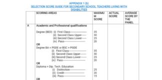 2019 TSC intern teachers recruitment; Marking scheme and scoresheet to be used during interviews