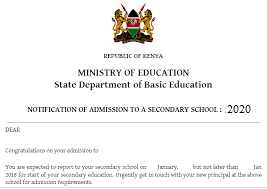 form one admission letter 2020