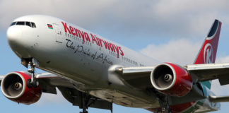 A plane belonging to Kenya Airways.