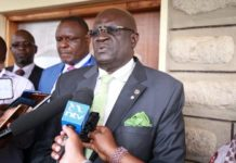 Education Cabinet Secretary Prof George Magoha on January 14, 2020, at Machokos Boys. He directed schools to admit all Form One students, including those who may have less fees than required in First Term in the spirit of the 100 per cent transition policy