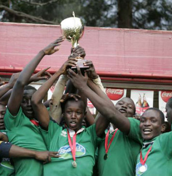 Maseno school players lift a rugby title at a past event. This year's Maseno open tournament will take place on 1st and 2nd 2nd February.
