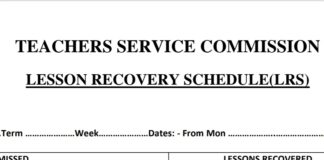 Lesson Recovery Schedule form for Teachers
