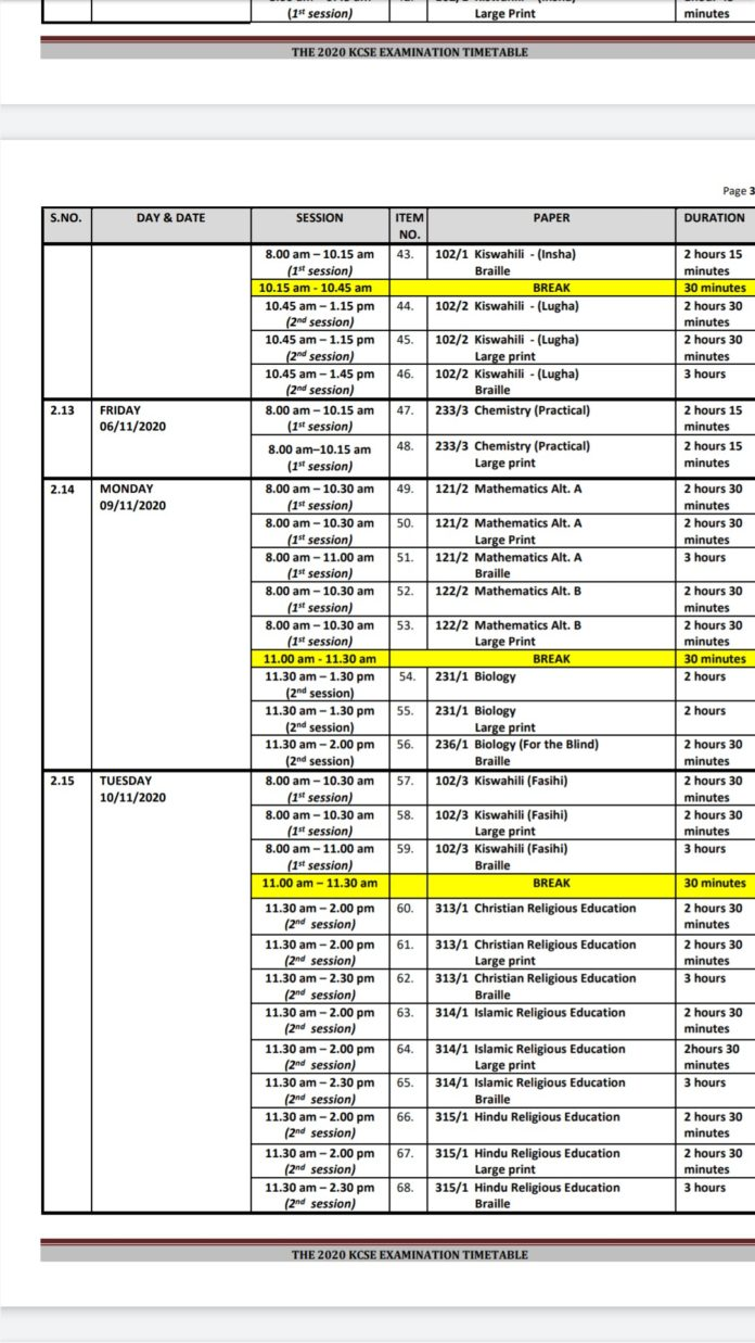 2020 KCSE time table