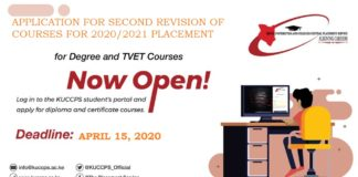 KUCCPS 2020/ 2021 placement second revision of choices.