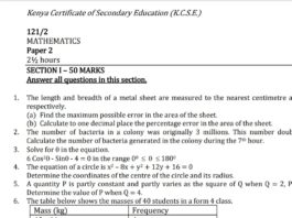 Free Mathematics notes, schemes, lesson plans, KCSE Past Papers, Termly Examinations, revision materials and marking schemes.