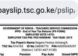 The P9 Form. TSC teachers P9 form online.