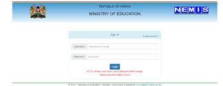 The Nemis portal that is used to capture data for all learners.