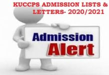 2020/2021 KUCCPS ADMISSION LETTERS AND LISTS PER UNIVERSITY
