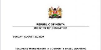 Press statement by Education Cabinet Secretary George Magoha on Community Based Learning.