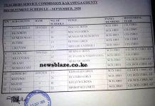 Kakamega County TSC recruitment dates and venues, 2020.