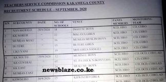 Kakamega County TSC recruitment dates and venues, 2020.